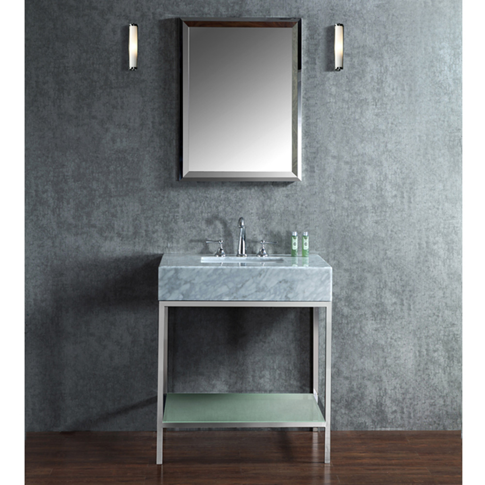 Seacliff by ariel brightwater 30 single sink vanity set for Stainless steel countertop with built in sink