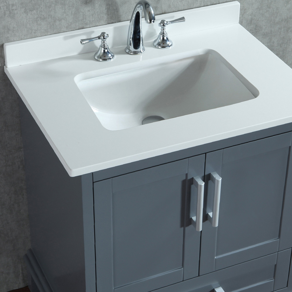 "Seacliff By Ariel Nantucket 30"" Single Sink Vanity Set With Carrera White Quartz Countertop"