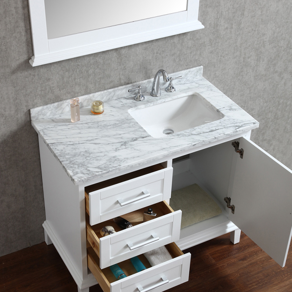 Seacliff By Ariel Nantucket 42 Quot Single Sink Bathroom Vanity Set With Carrera White Marble