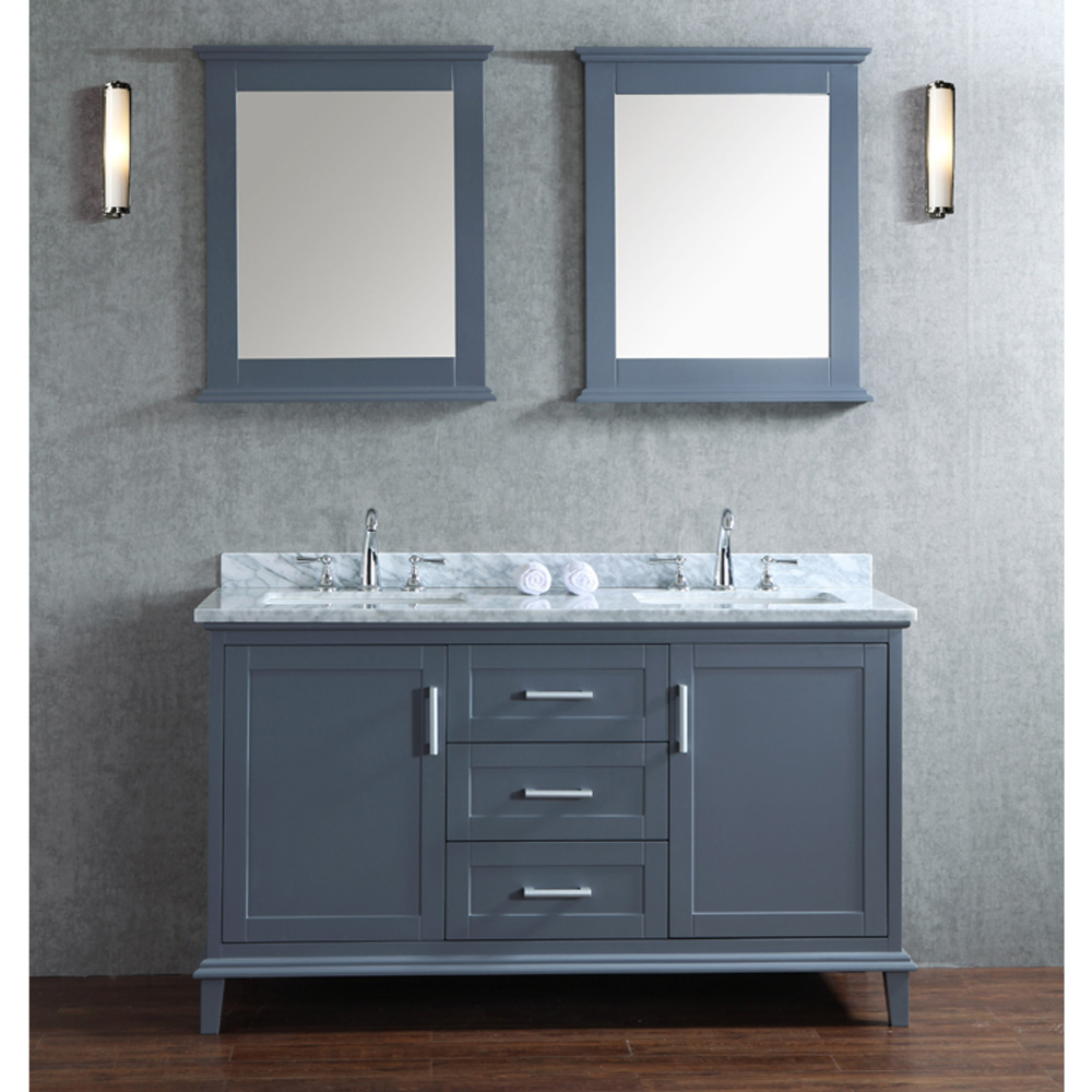Seacliff By Ariel Nantucket 60 Quot Double Sink Vanity Set With Carrera White Marble Countertop