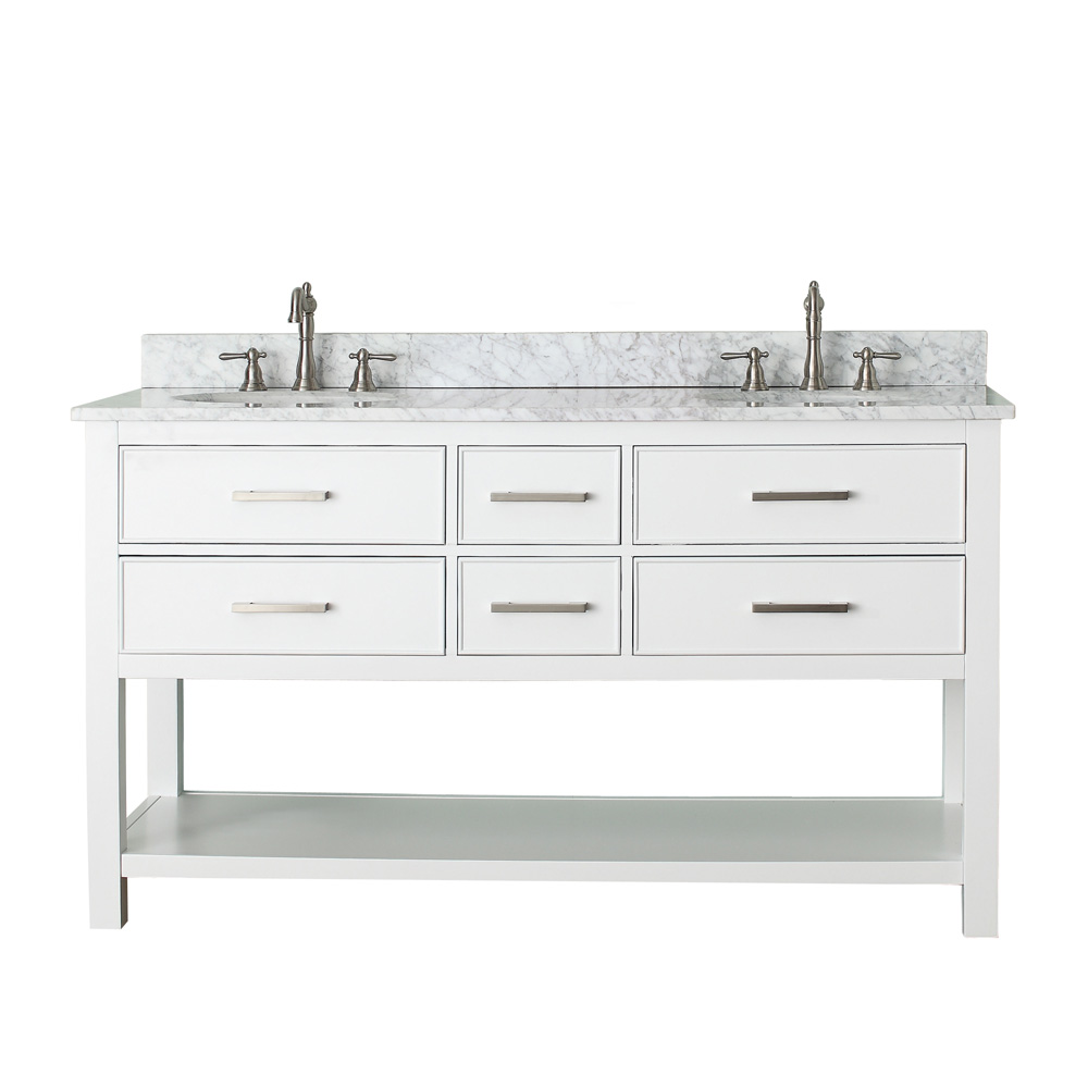 "Avanity Brooks 60"" Double Bathroom Vanity - White"