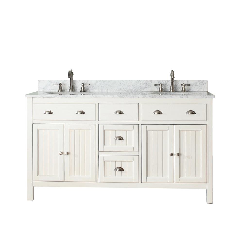 Avanity hamilton 60 double bathroom vanity french white for Avanity bathroom vanities