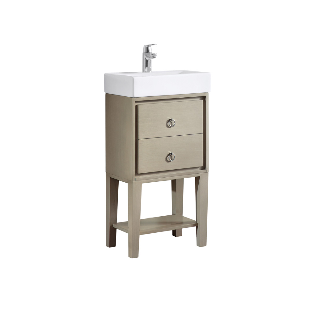 Avanity kent 18 single modern bathroom vanity with integrated vitreous china top taupe glaze for Bathroom vanities china wholesale