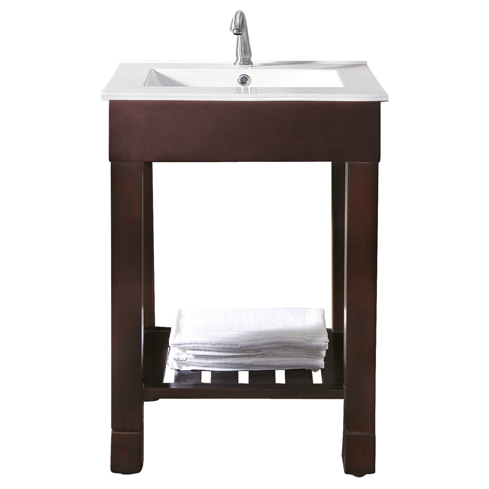 Avanity loft 24 single modern bathroom vanity set dark walnut free shipping modern bathroom - Contemporary european designer bathroom vanities ...