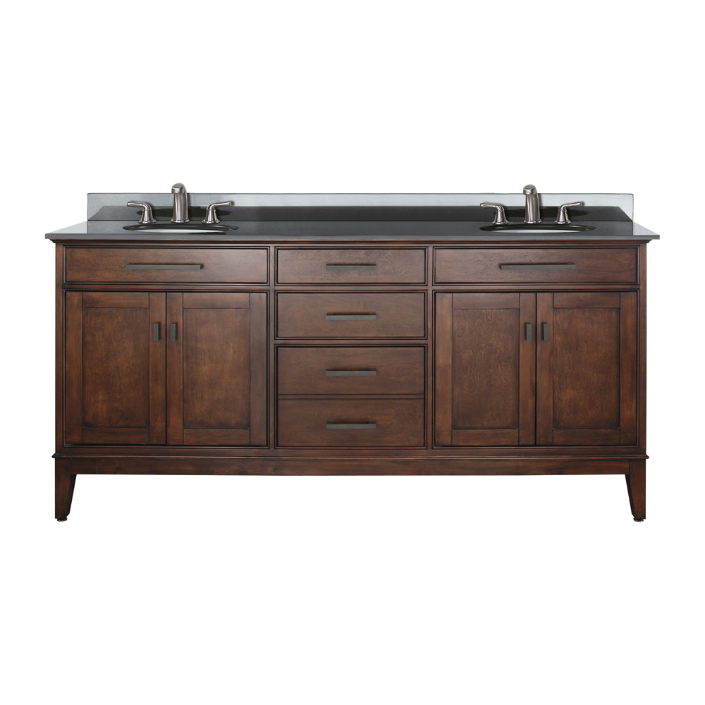 "72 Madison Double Vessel Sink Vanity: Avanity Madison 72"" Double Bathroom Vanity - Tobacco"