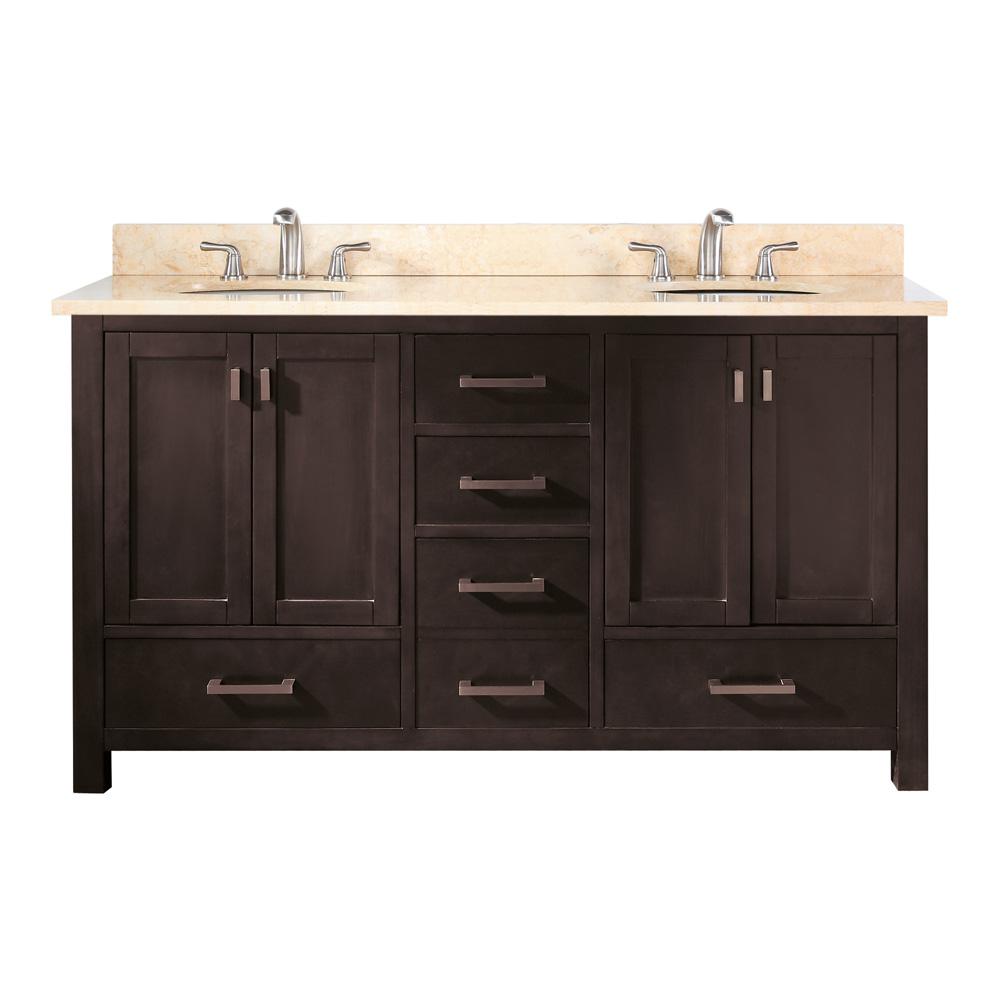 "60 Modero Double Vessel Sink Vanity: Avanity Modero 60"" Double Bathroom Vanity"