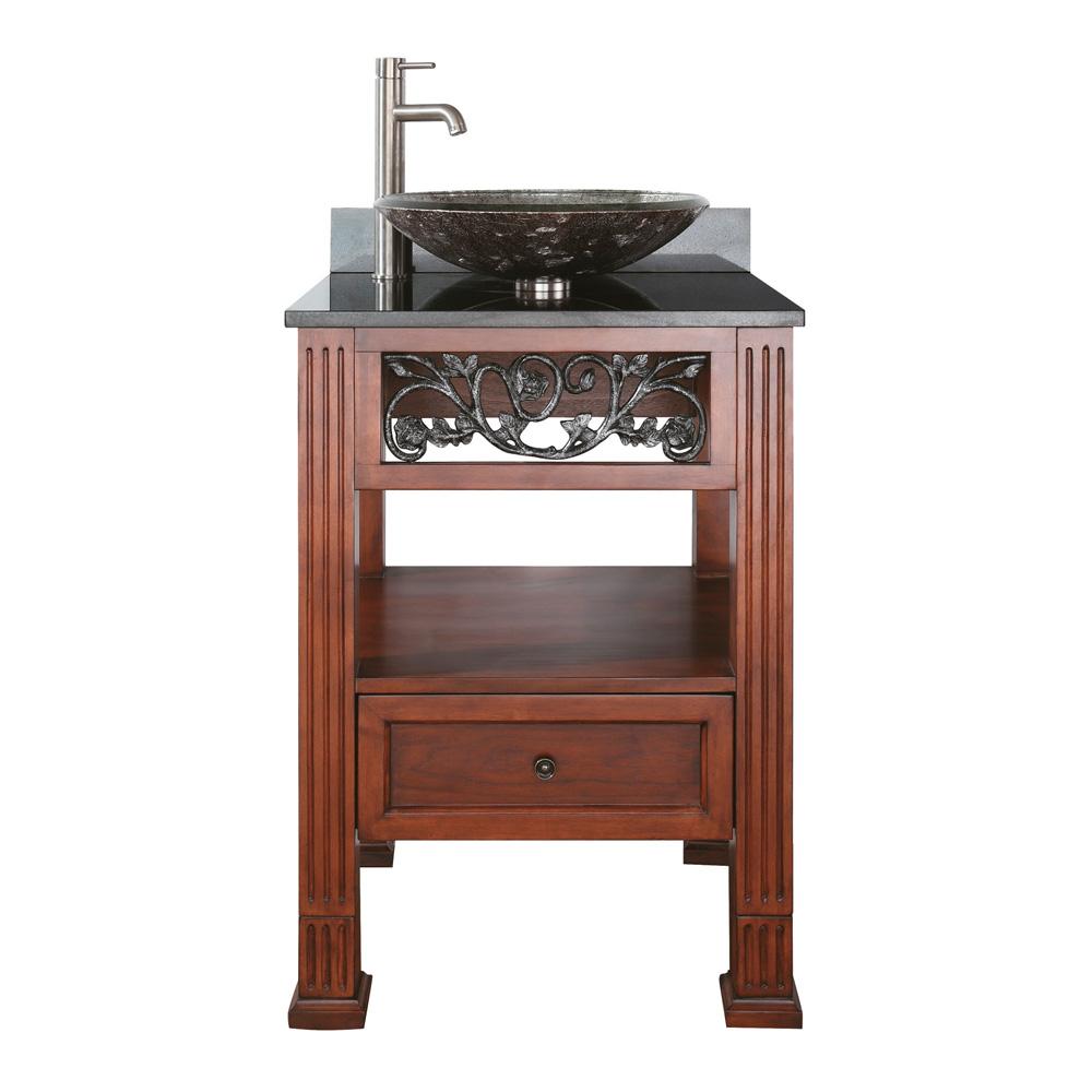 Avanity napa 24 single bathroom vanity with black granite for Tempered glass countertop vs granite