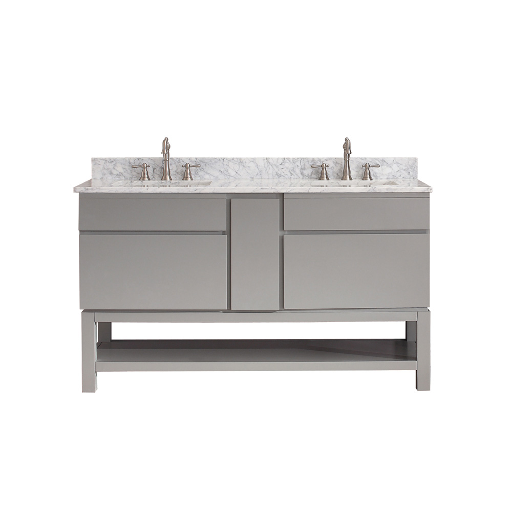 Avanity tribeca 60 double bathroom vanity with base chilled gray free shipping modern - Bathroom vanity cabinet base only ...