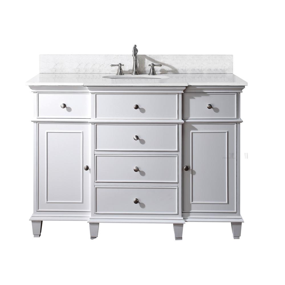 """White Bathroom Vanities: Avanity Windsor 48"""" Bathroom Vanity - White"""