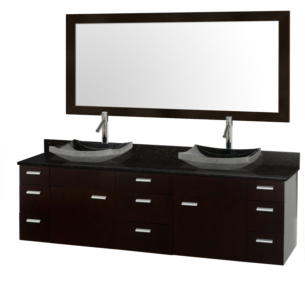 Encore 78 double bathroom vanity set espresso with black granite counter and vessel sinks for 78 double sink bathroom vanity