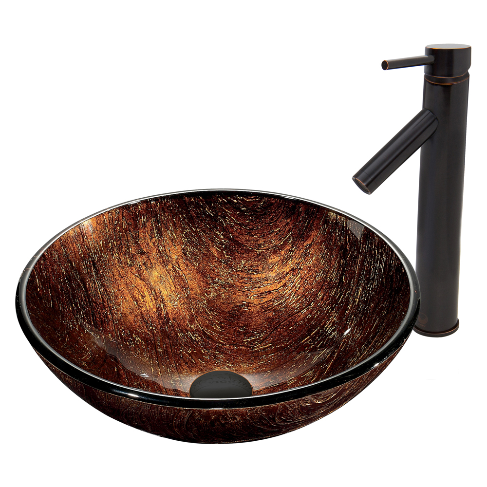 Vigo Kenyan Twilight Glass Vessel Sink and Dior Faucet Set in Antique Rubbed Bronze Finish VGT396 by Vigo Industries