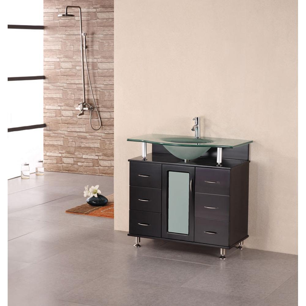 "65 Inch Bathroom Vanity Single Sink: Design Element Cascade 35"" Single Bathroom Vanity"