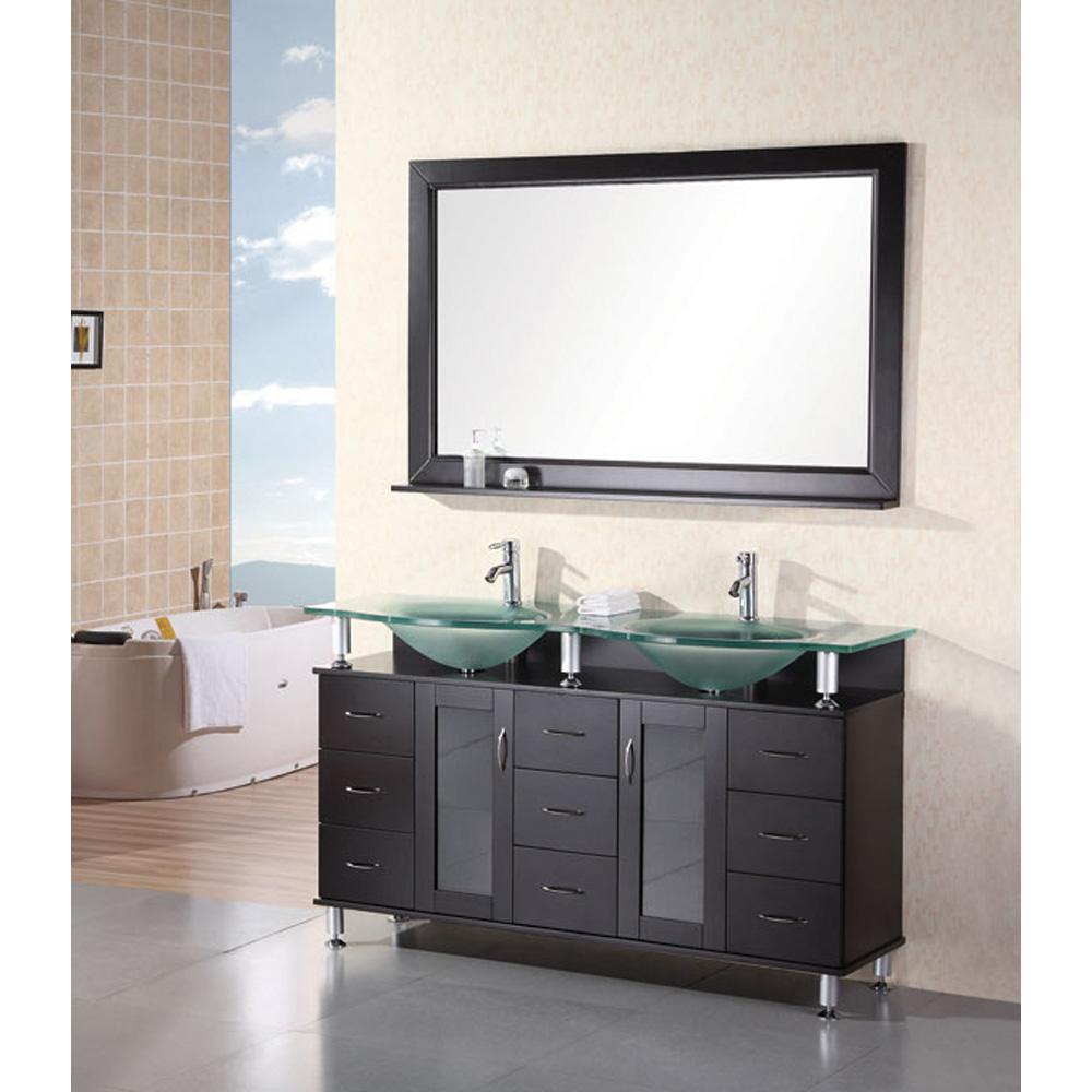 Design element huntington 60 double sink vanity set for Design element marcos solid wood double sink bathroom vanity