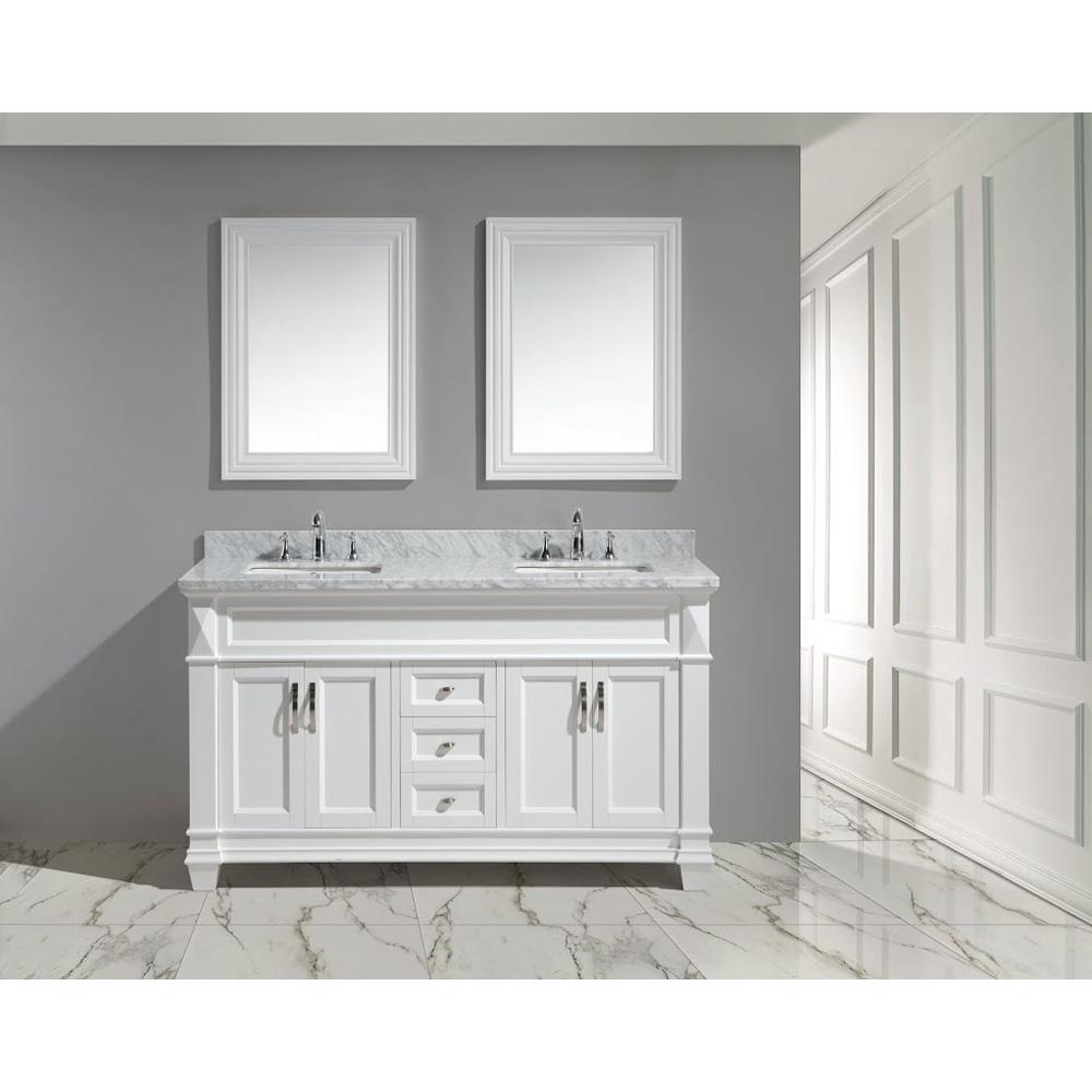 Design element hudson 60 double sink vanity set white for Design element marcos solid wood double sink bathroom vanity