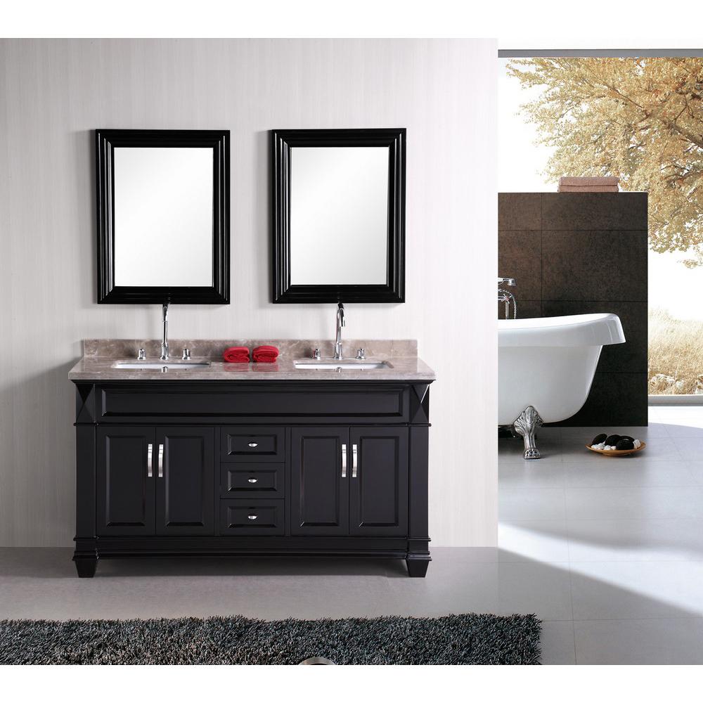 Design element hudson 60 double sink bathroom vanity - Contemporary bathroom sinks and vanities ...