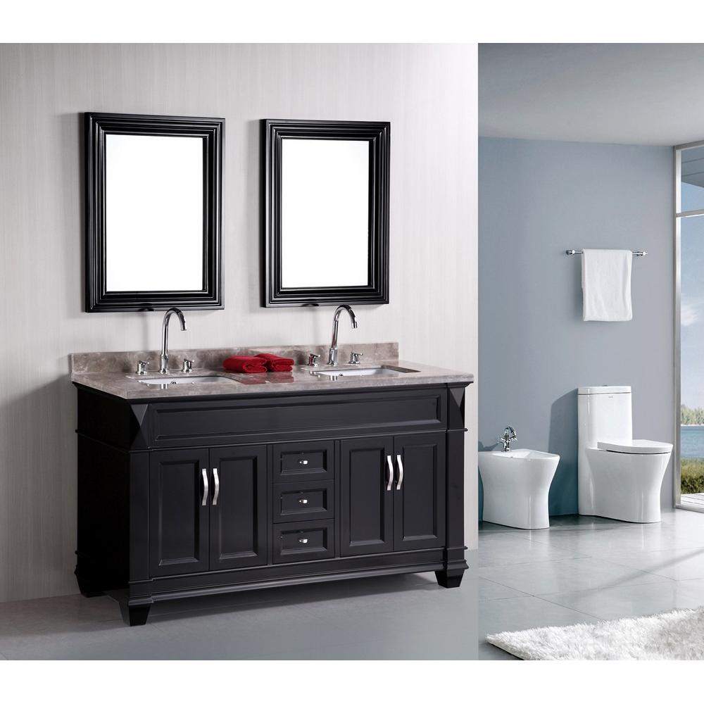 design element hudson 60 double sink bathroom vanity black free shipping modern bathroom. Black Bedroom Furniture Sets. Home Design Ideas