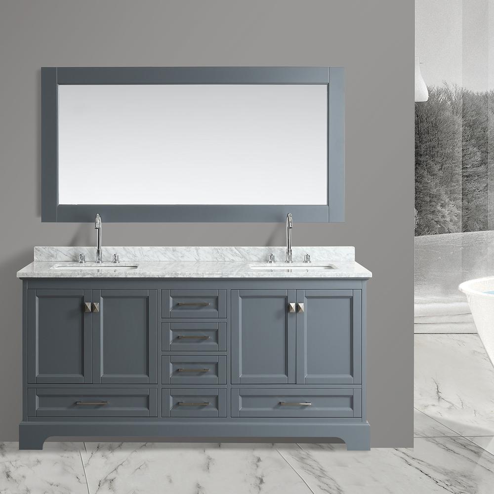 Design Element Omega 72 Quot Double Sink Vanity Gray Free