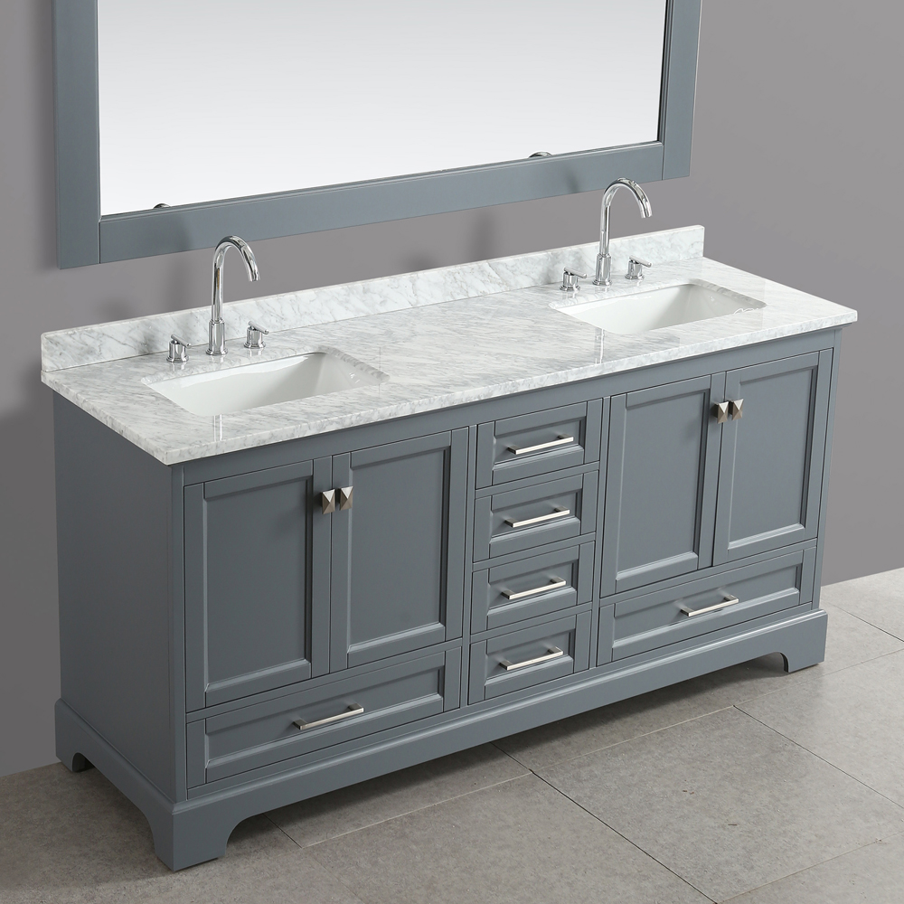 Design Element Omega 72 Quot Double Sink Vanity Gray Free