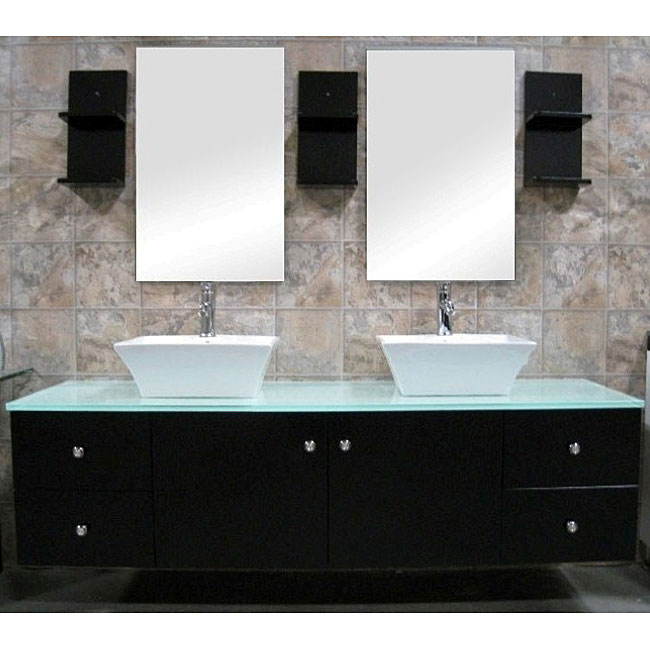 Design Element Portland 61 Double Sink Vanity Set Espresso Free Shipping Modern Bathroom