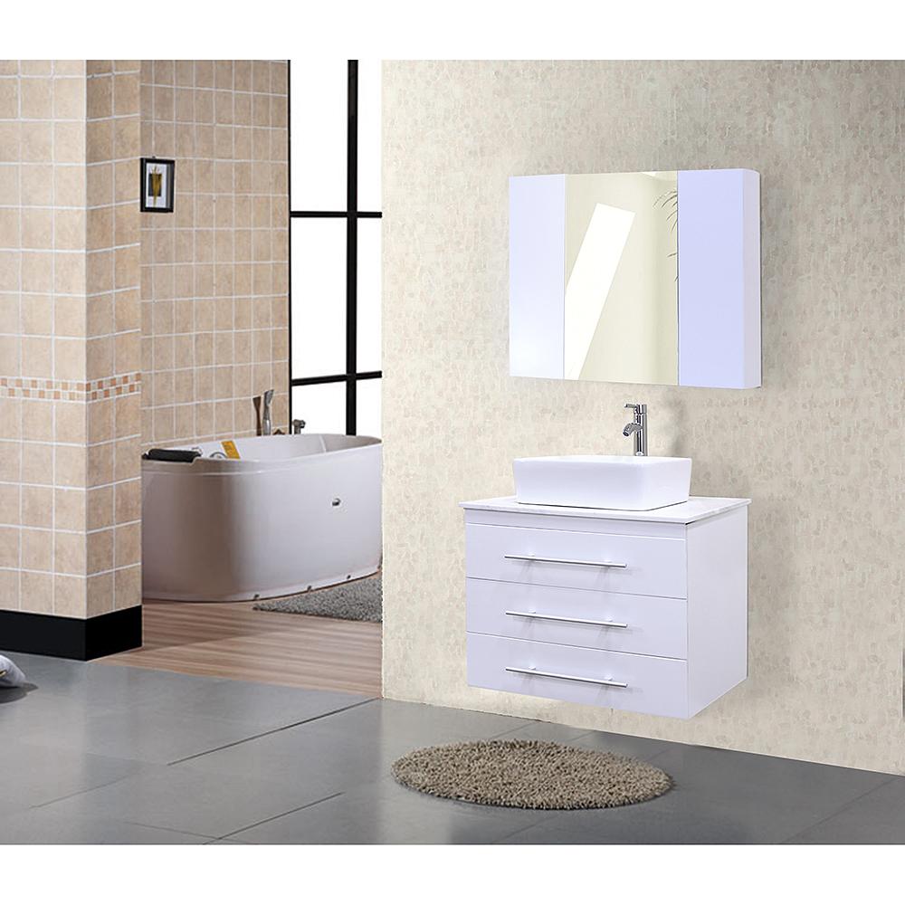 Design Element Portland 30 Single Sink Wall Mount Vanity Set White Free Shipping Modern