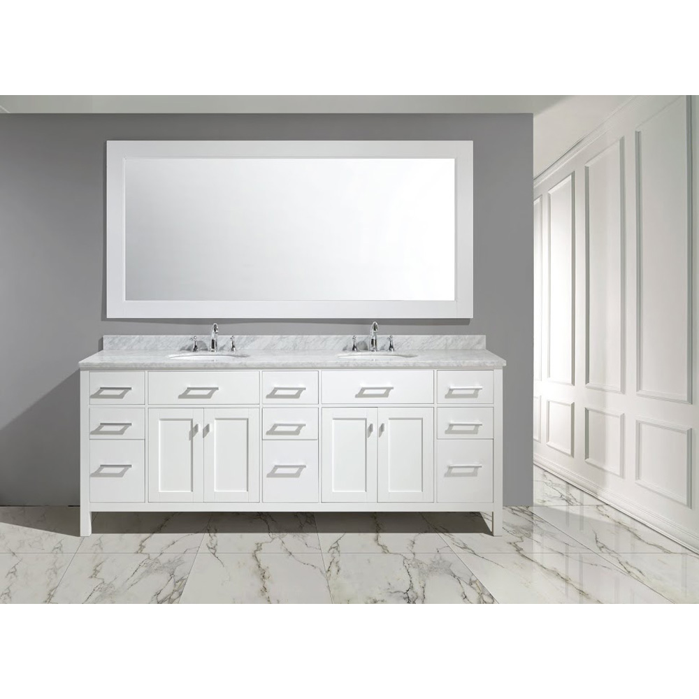 Design Element London 84 Double Sink Vanity Set White Free Shipping Modern Bathroom