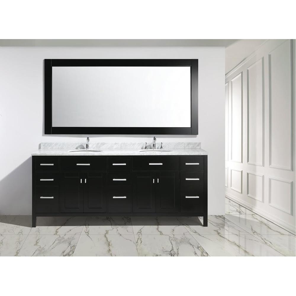 Design element london 84 double sink vanity set for Design element marcos solid wood double sink bathroom vanity