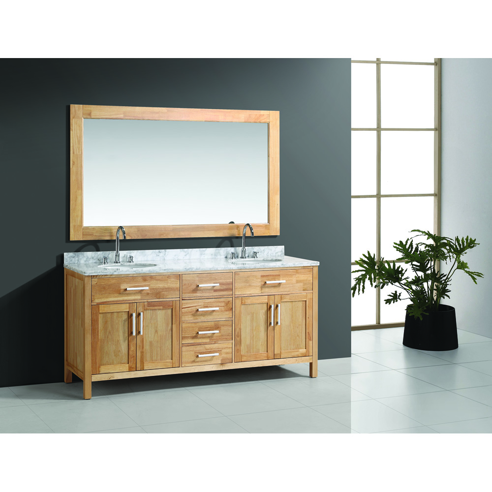 Design element london 72 double bathroom vanity set oak for Design element marcos solid wood double sink bathroom vanity