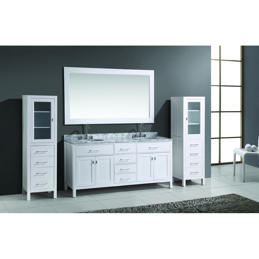 Design Element London 72 Double Vanity Set With 2 Linen Cabinets White Free Shipping