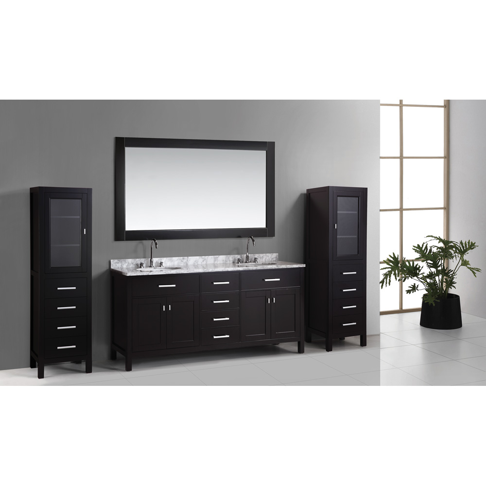 Design Element London 72 Double Vanity Set With 2 Linen Cabinets Espresso
