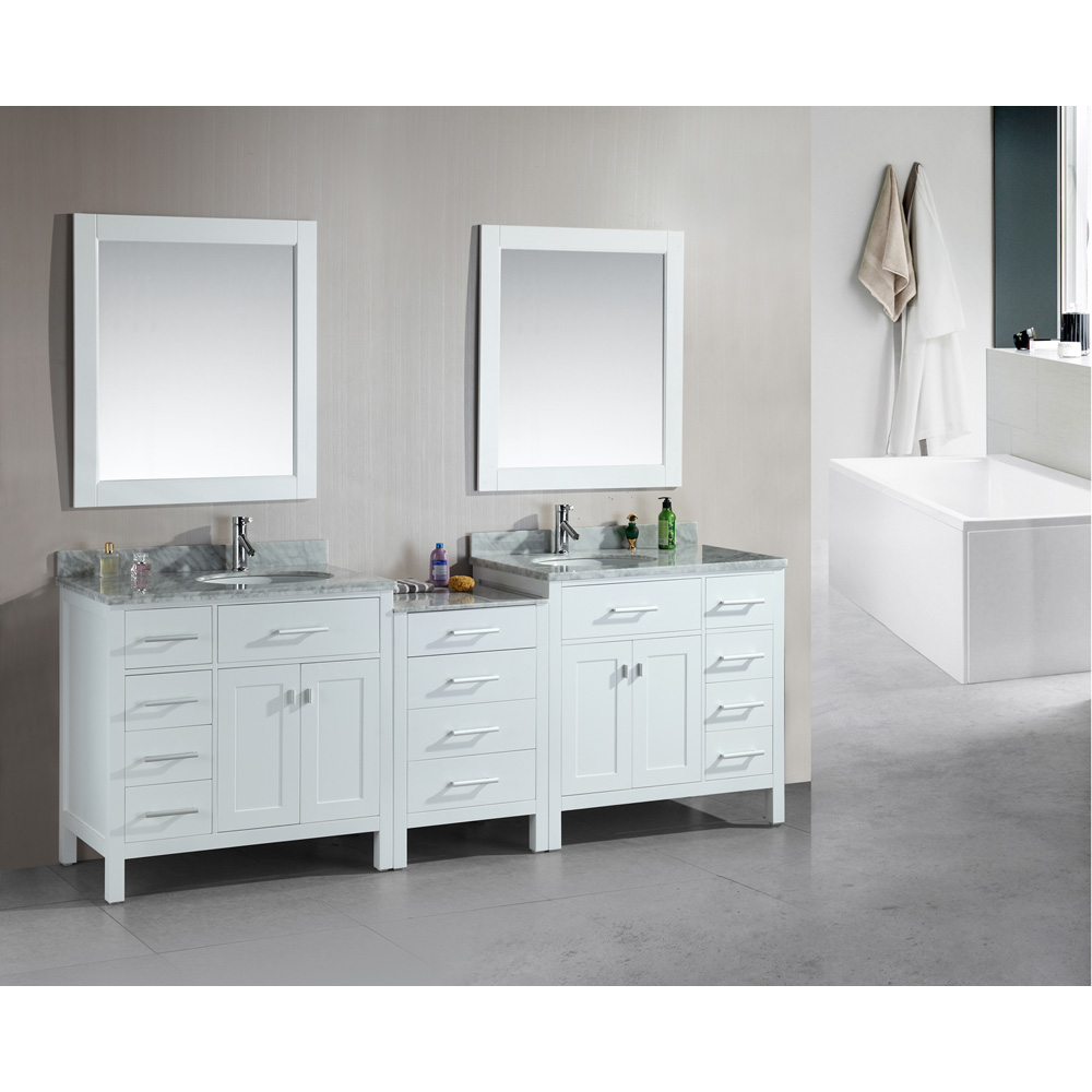 Design Element London 92u0026quot; Double Sink Vanity Set   White ...