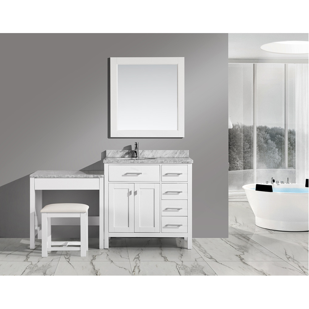 Design Element London 36 Quot Vanity Set With A Make Up Table White Free Shipping Modern Bathroom