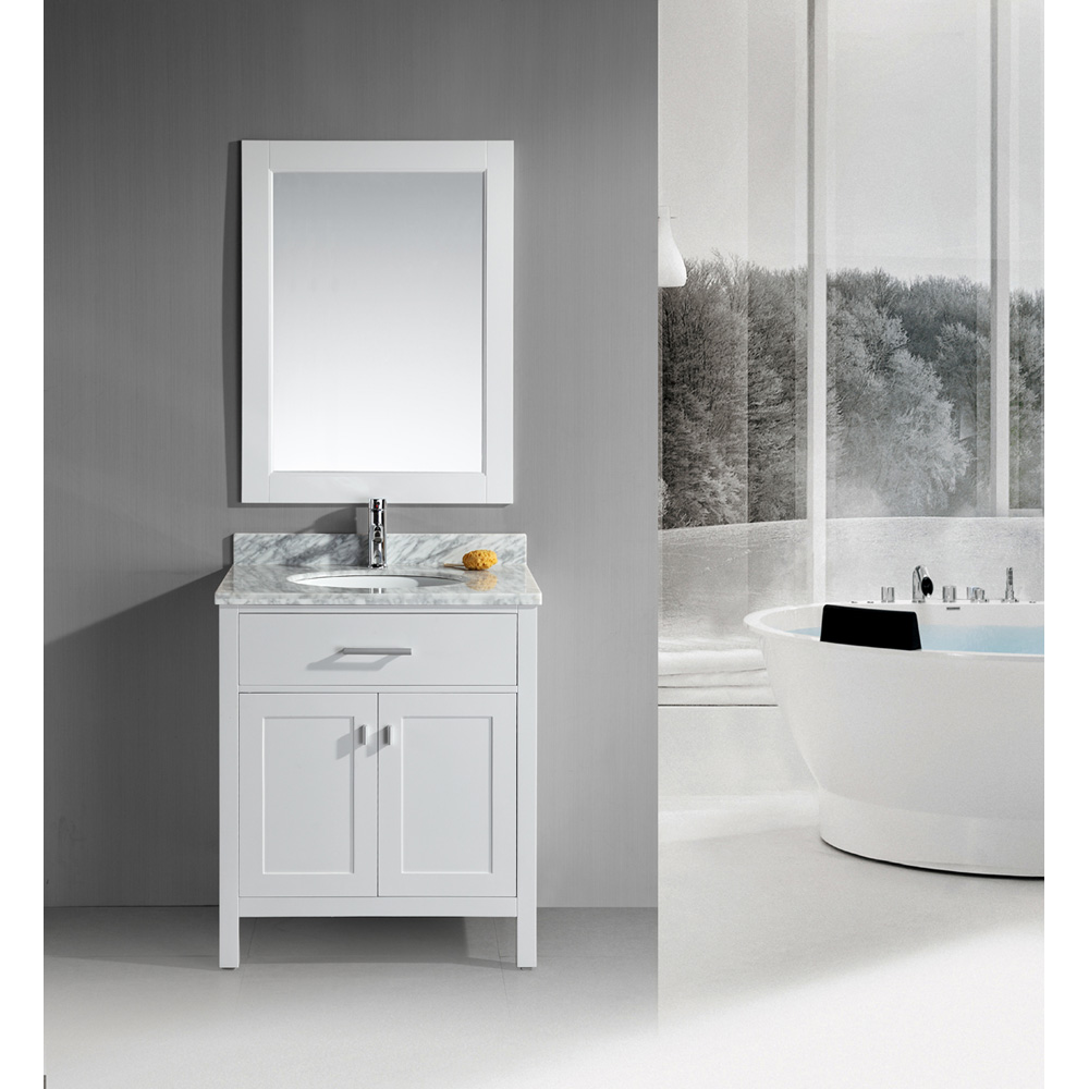 Design Element London 30 Single Vanity With White Carrera Countertop Sink And Mirror Pearl