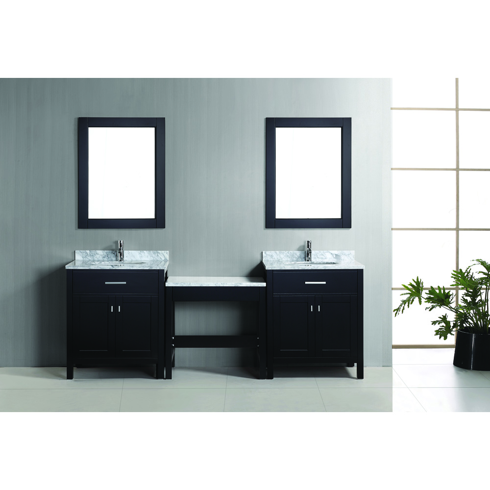 Design Element London Two 30 Single Vanities With Make Up Table Espresso Free Shipping