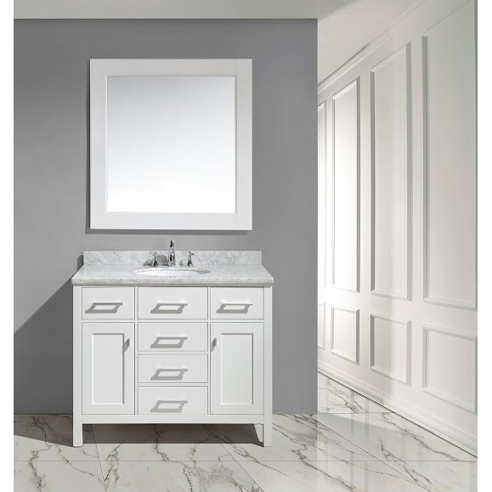 Design Element London 42 Bathroom Vanity With White Carrara Marble Countertop Porcelain Sink And Mirror White