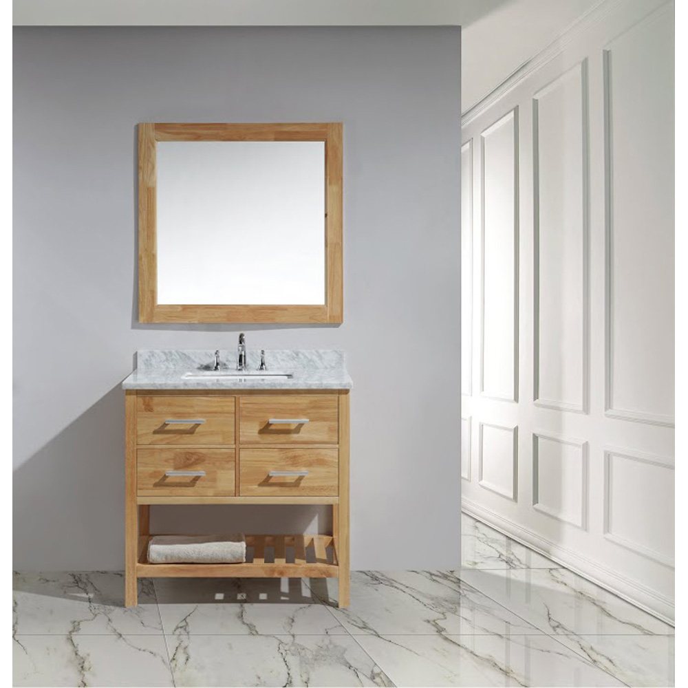 Design Element London 36 Vanity With Open Bottom White Carrera Counter