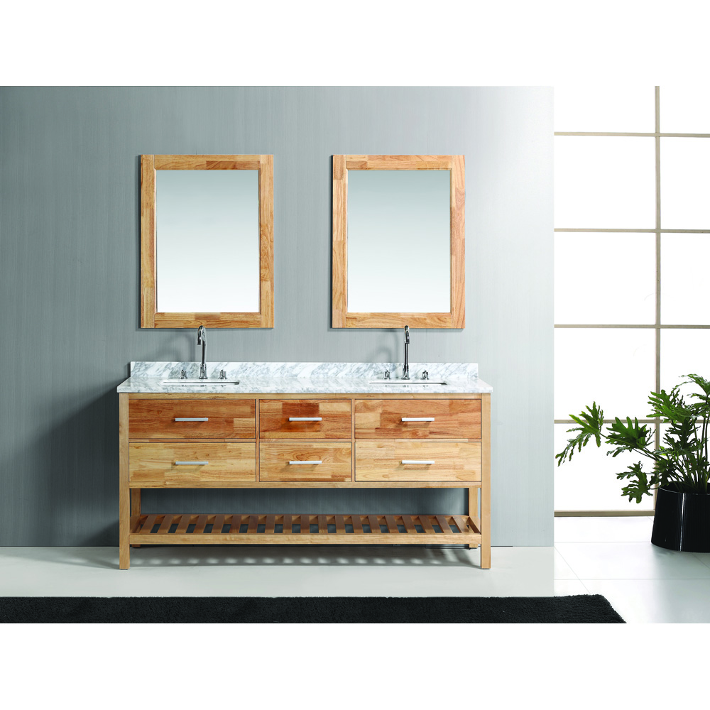 Design Element London 72 Double Bathroom Vanity Set With Open Bottom Oak Free Shipping