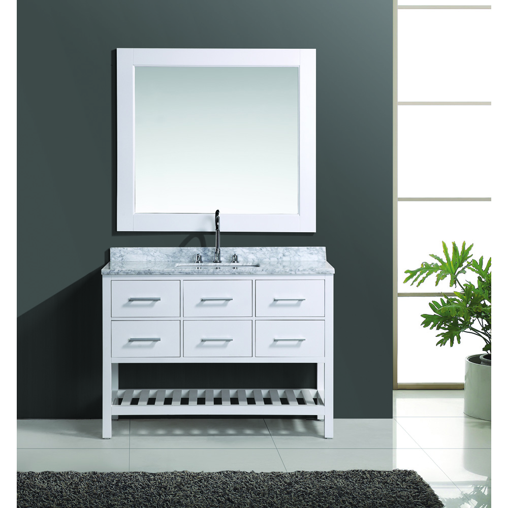 Design Element London 48 Vanity Set With Open Bottom White Free Shipping Modern Bathroom