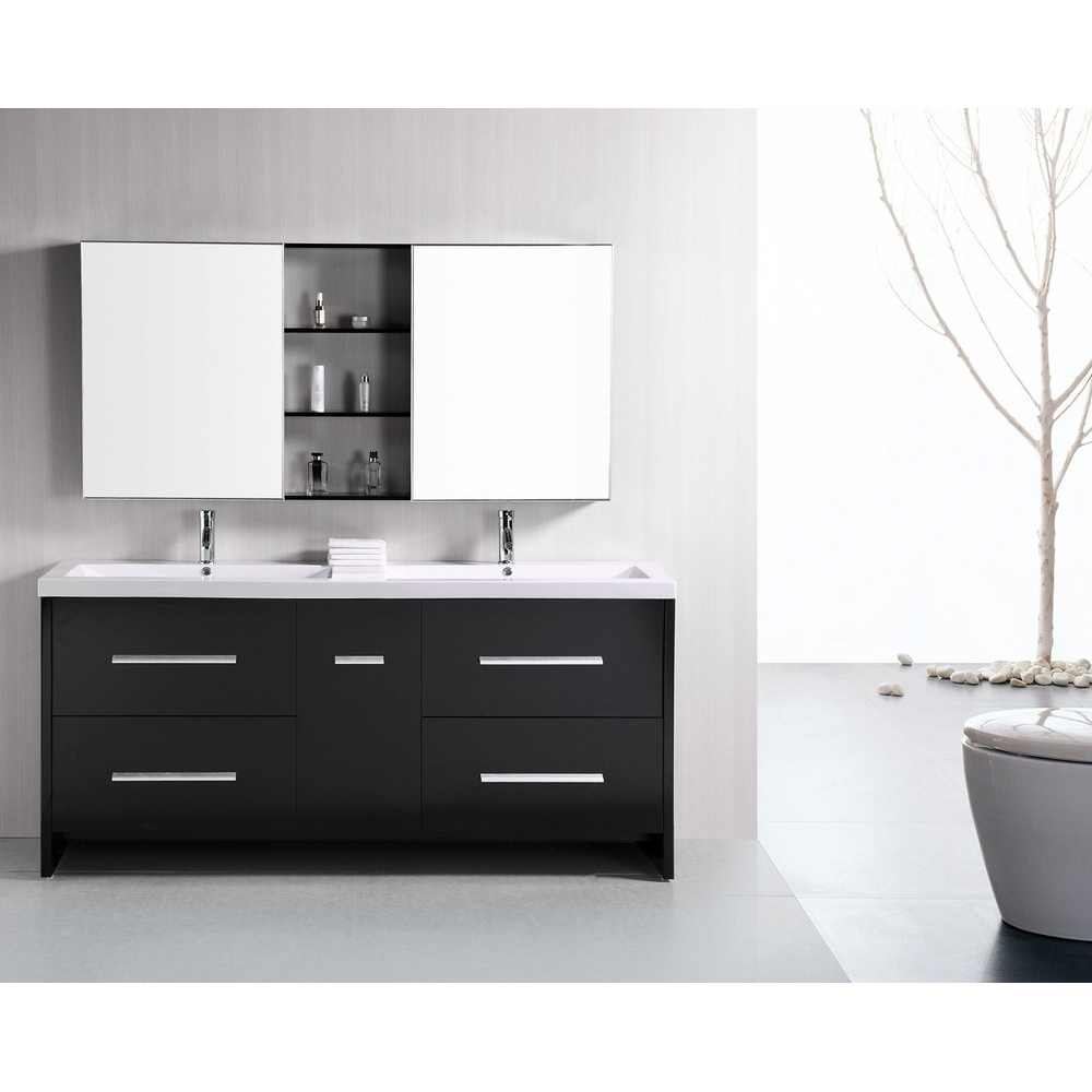 Design Element Perfecta 72 Quot Double Sink Bathroom Vanity Black Free Shipping Modern Bathroom