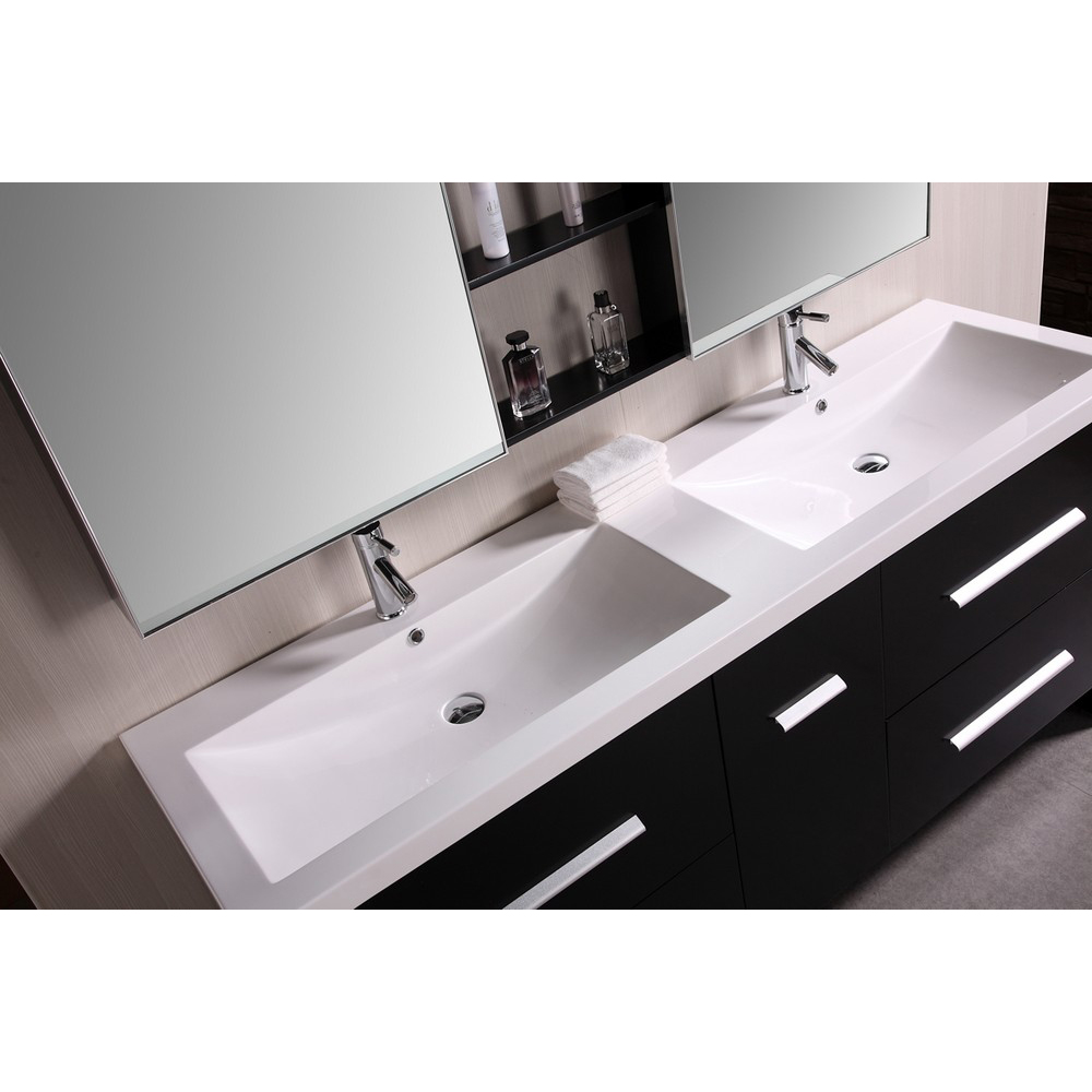 Design Element Perfecta 72 Quot Double Sink Bathroom Vanity Black Free Shipping
