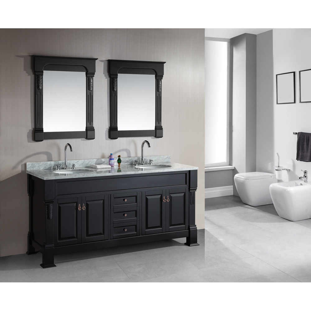 "Design Element Marcos 72"" Double Sink Vanity Set with ..."