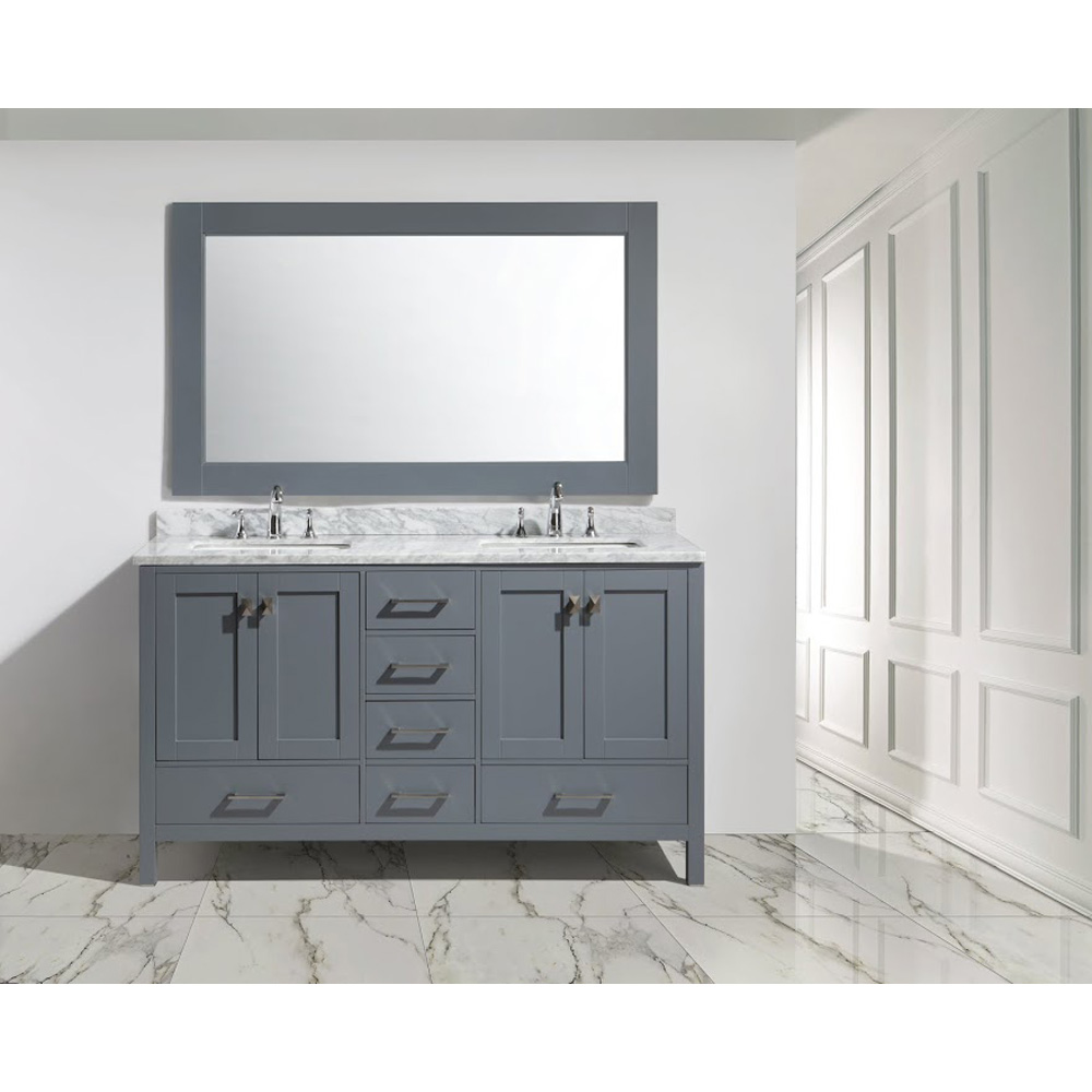 Design Element London 60 Double Sink Vanity Set Gray Free Shipping Modern Bathroom