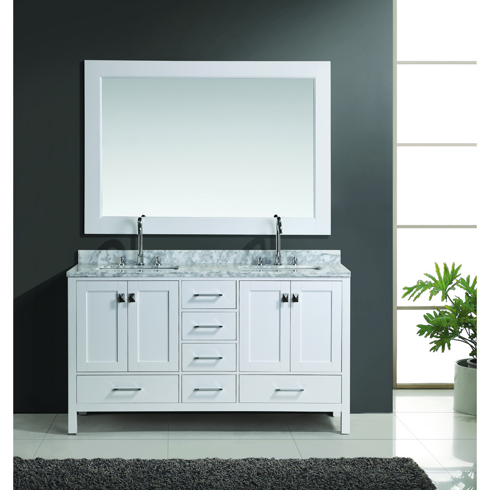 Design Element London 60 Double Vanity Set White Free Shipping Modern Bathroom