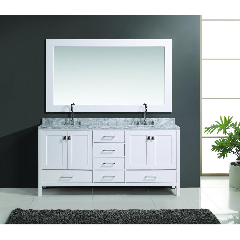 Design Element London 72 Double Vanity Set White Free