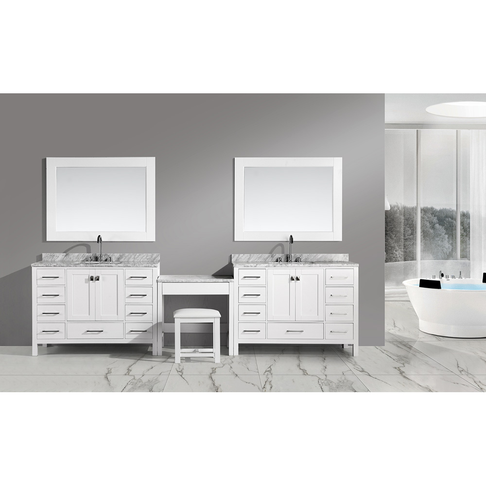 Design Element London Two 48 Vanities With Make Up Table White Free Shipping Modern Bathroom