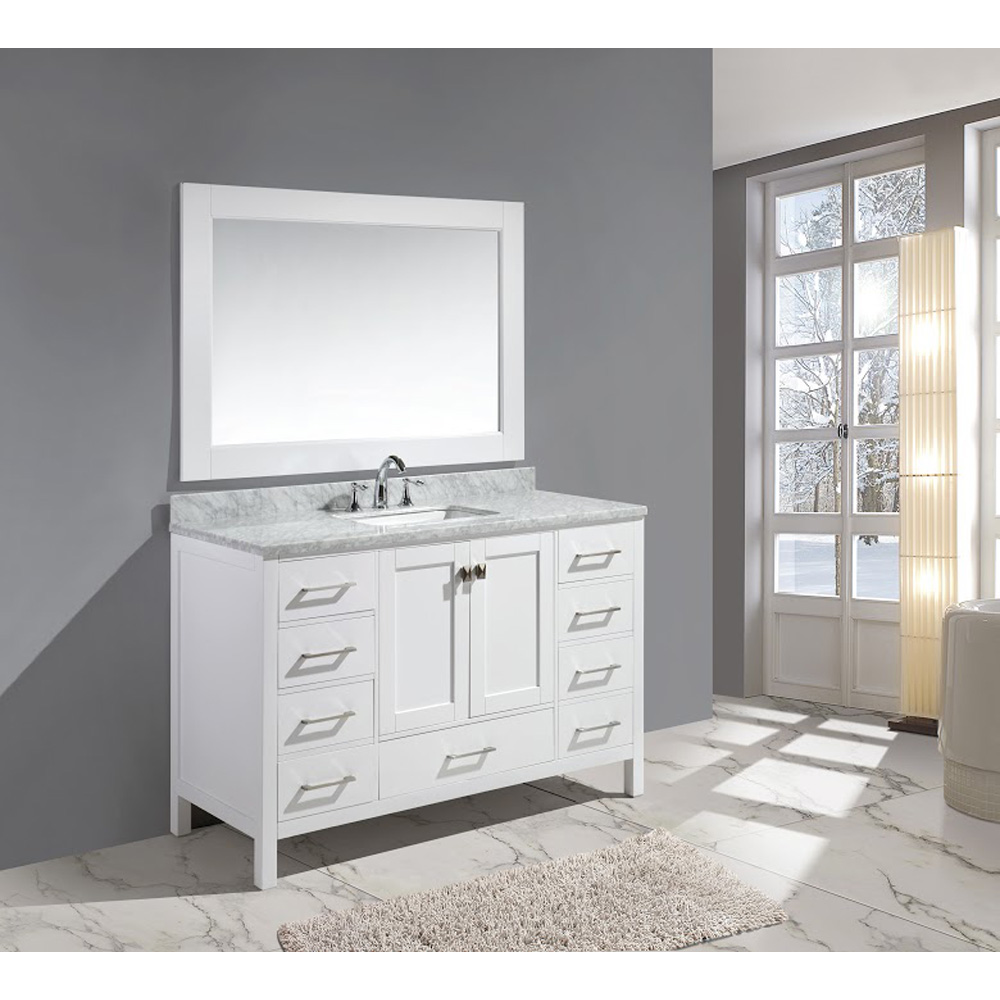 Design Element London 54 Single Sink Vanity Set White Free Shipping Modern Bathroom