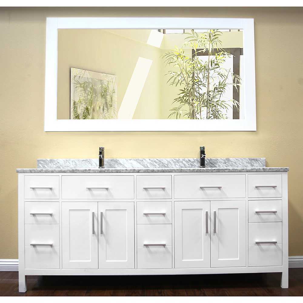 Design Element London 78 Modern Double Bathroom Vanity With White Carrera Countertop Sinks And