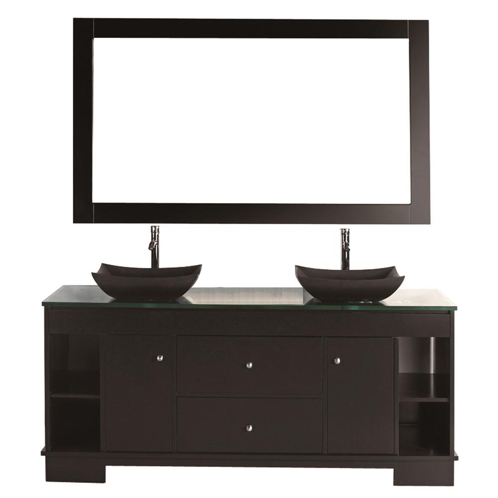 Design Element Oasis 60 Double Sink Vanity Set Espresso Free Shipping Modern Bathroom