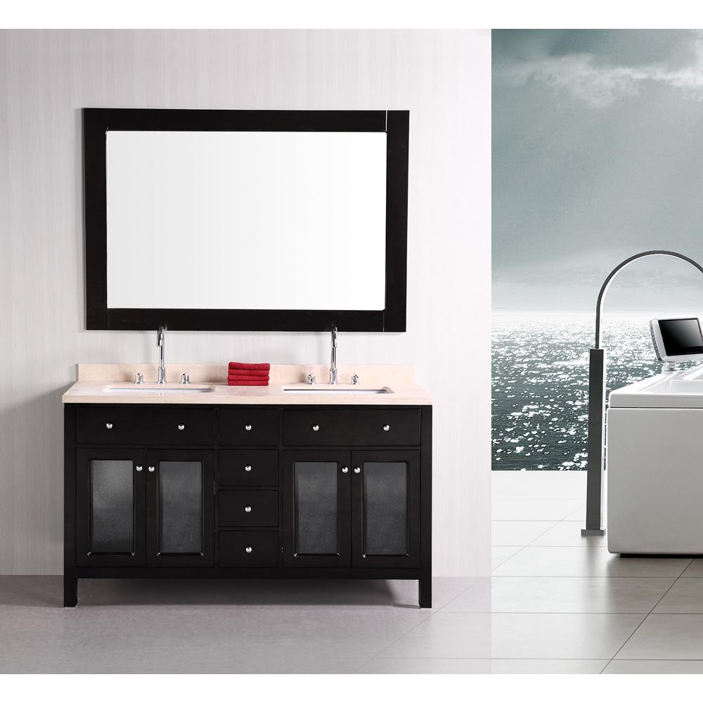 Design element venetian 60 double sink bathroom vanity for Design element marcos solid wood double sink bathroom vanity