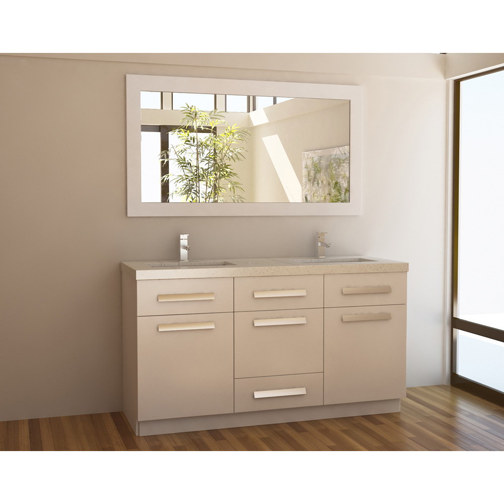 Design element moscony 60 double sink vanity set white for Design element marcos solid wood double sink bathroom vanity