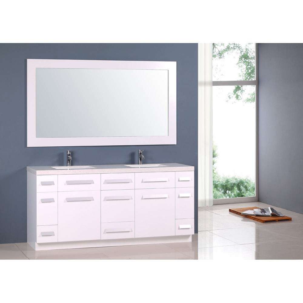 Design element moscony 72 double sink vanity set white - 72 inch bathroom vanity double sink ...